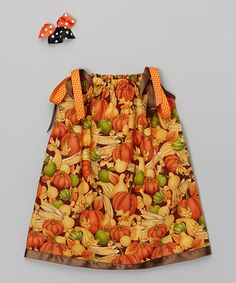 This Orange Pumpkin Dress & Hair Bow - Infant, Toddler & Girls by Cozy Bug is perfect! #zulilyfinds