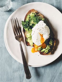 #powerbreakfast poached egg with avocado and cilantro on garlic toast