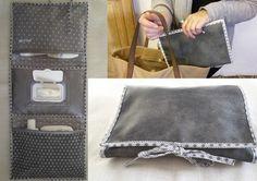 Pochette à couches et lingettes Grand modèle Trois poches imitation cuir gris et argenté De couleur grise Cadeau de naissance original pour fille pochette à couche / ling - 16539201
