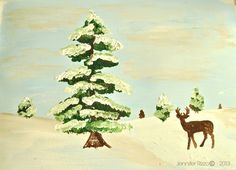 Rejuvenation Holiday: Jennifer Rizzo Winter Deer Art. Printable and framable, apparently. Give it try - what the heck?