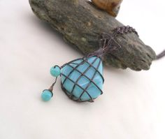 Copper wire pendant beaded turquoise jewelry by ArtemisFantasy, $20.00
