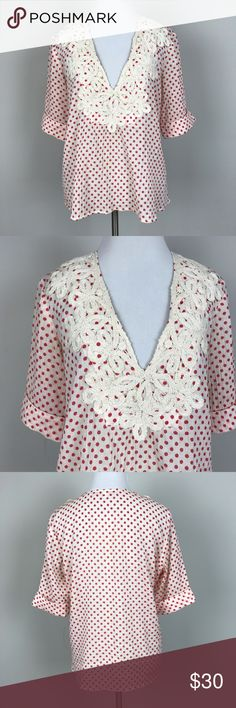 "[Anthropologie] Polka Dot Appliqué Shirt Retro Top Polka dot print blouse with crochet appliqué detail. Pullover style with deep v neck. Cuffed short sleeves. A-line Flowy fit. Ivory and red. By Corey Lynn Calter from Anthropologie.   🔹Pit to Pit: 20"" 🔹Length: 24"" 🔹Condition: Excellent pre-owned condition.  *XX4 Anthropologie Tops Blouses"