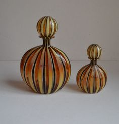 OGGETTI MURANO ITALY SIGNED VALENTINA 98 SET OF TWO BOTTLES WITH STOPER