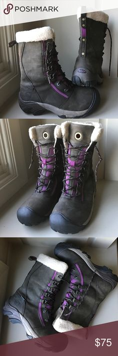 "Keen Hoodoo Hi Lace Boot Size 9.5 brown purple Gently Preowned Top of the line Keen boot!  High style and mountain function come together in this fashionable cold weather boot. Faux shearling lining. Shaft height 10-3/4"". Keen Shoes Winter & Rain Boots"