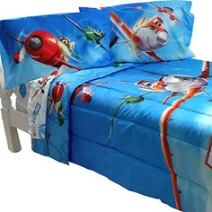 5pc Disney Planes Full Bedding Set Dusty Crophopper On Your Mark Comforter and Sheet Set *** Click image for more details.