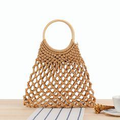2019 Hollow Out Cotton Beach Bag Ladies Handbags Bohemian Wood Handle Travel Tote Large Capacity Fishnet Women Shopping Bag - Retro, Summer Handbags, Ladies Handbags, Travel Bags For Women, String Bag, Large Shoulder Bags, Casual Bags, Cotton Tote Bags, Rattan