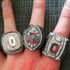 CFB Champion, OSU National Champion & Big 10 Champion rings! Buckeyes Football, Ohio State Football, Ohio State University, Ohio State Buckeyes, College Football, Ohio State Wallpaper, Championship Rings, National Championship, Ohio Stadium