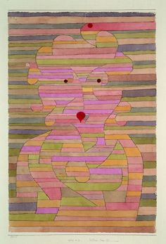 Paul Klee (1879-1940), Bildnis Frau Gl. (Portrait of Mrs GI), 1929 (39). Watercolour and pen on paper, mounted on cardboard. 45.7cm H x 30.5cm W. (Kunstmuseum, Basle)