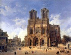 La cathédrale de Reims, vue du sud-ouest, par Domenico Quaglio (1787-1837). 6 mai 1211 : pose de la première pierre de l'actuelle cathédrale de Reims. Histoire de France. Patrimoine. Magazine