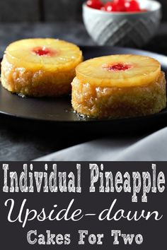These Individual Pineapple Upside-down Cakes are awesome!!! Moist fluffy yellow cakes are topped with pineapple rings, maraschino cherries, and the gooey sweet brown sugar and butter topping creates a crispy satisfying flavor and texture sensation. This super easy small batch recipe makes a perfect dessert for two and is ready in just 30 minutes. Try it for an impressive date night or Valentine's Day dessert. #dessert #DessertForTwo #SmallBatch #PineappleUpsideDownCake #pineapple…