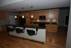 Family friendly kitchen with legless bar stools!