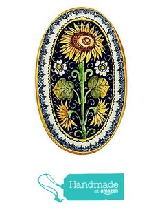 CERAMICHE D'ARTE PARRINI - Italian Ceramic Art Pottery Tray Plate Sunflower Blu Hand Painted Made in ITALY Tuscany from CERAMICHE D'ARTE PARRINI since 1979 http://www.amazon.com/dp/B0195HSCOE/ref=hnd_sw_r_pi_dp_lLVixb1KANRNT #handmadeatamazon