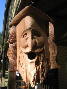 Hand Carved Cedar Birdhouse. WOOD SPIRIT.