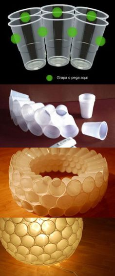 DIY Cup Chandeleir  - no written tutorial but looks like the cups were stapled together, then a light kit was added*