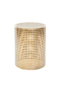 Perforated brass stool side table by Kelly Wearstler