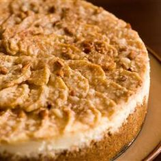 Autumn Cheesecake Allrecipes.com I make this every year at thanksgiving, is sooo good. I chop the apples with my hand held chopper, pour it on top already mixed with spices, it does not crack because of all the apple juice, also, add a little nutmeg and ground cloves to the crust...yummy!!!