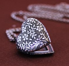 Tattoo inspiration... Forget Me Not  Tiny Heart Locket  Silver by HeartworksByLori on etsy