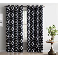 "HLC.ME Lattice Print Thermal Insulated Room Darkening Blackout Curtains for Bedroom - Black - 52"" W x 96"" L - Set of 2 ** To view further for this item, visit the image link. (This is an affiliate link) #HomeDcor"