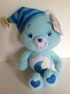 "NEW Bedtime Care Bear 8"" Plush Stuffed Bean Bag Toy 2007 TCFC Blue Nightcap Moon #CareBears"