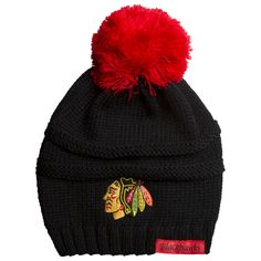 766f898f17d Chicago Blackhawks Women s Black and Red Deliah Knit Pom. Knitted GlovesKnit  HatsHockey ...