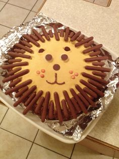 Cakes for kids - Lion face cake Funny Birthday Cakes, Zoo Birthday, Birthday Ideas, Cake Cookies, Cupcake Cakes, Baby Food Recipes, Cake Recipes, Lion Cakes, Mom Cake