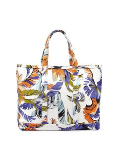 EMILIO PUCCI Jungle-Print Canvas Tote Bag, White Print. #emiliopucci #bags #leather #hand bags #canvas #tote #lining #