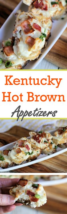 Kentucky Hot Brown Appetizers - A perfect party food for Derby Day - Mom Foodie - Finger Food Appetizers, Yummy Appetizers, Appetizers For Party, Finger Foods, Appetizer Recipes, Appetizer Ideas, Tailgate Appetizers, Christmas Appetizers, Party Recipes