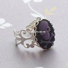 Black Purple Skull Filigree Silver Ring