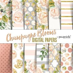 Floral Digital Paper: Watercolor by PawPrintzDesignShop on Etsy