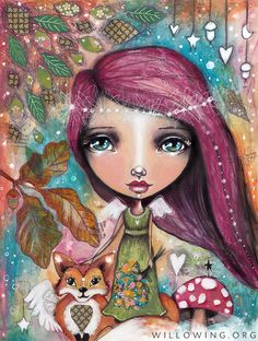 Autumn Fairy with Fox - Art Print by willowing on Etsy