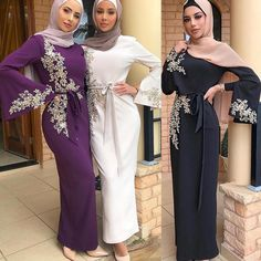 Abaya Dubai Turkey Muslim Hijab Dress Kaftan Caftan Marocain Islamic Clothing For Women Ramadan Dresses Islam Robe Musulman-in Islamic Clothing from Novelty & Special Use on AliExpress Abaya Dubai, Dubai Fashion, Abaya Fashion, Muslim Fashion, Fashion Dresses, Islamic Fashion, Modest Long Dresses, Dresses Elegant, Modest Outfits
