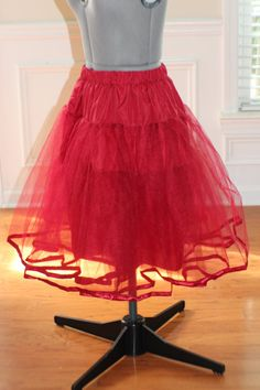 """Crinoline petticoat skirt for women's 50's dress in BRIGHT RED choose your size 23"""" long"""