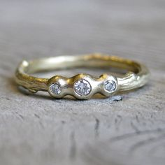 Diamond Pebble Twig Stackable Ring in 14k Gold. $525.00, via Etsy.