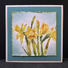watercolored daffodils card by Sallie (hobbydujour) | Supplies: Penny Black Stamp + Stampin' Up Reinkers