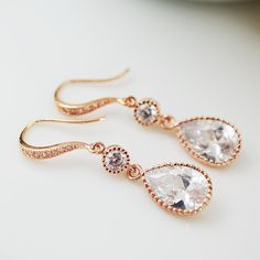 Wedding Jewelry Bridesmaids Gift Bridal Earrings Bridesmaid Earrings Rose Gold cz connectors with cubic zirconia Crystal tear drop Earrings