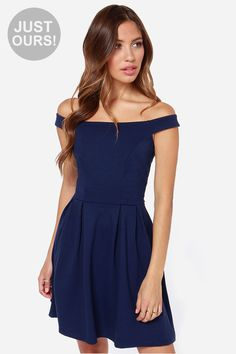 LULUS Exclusive Be Direct Off-the-Shoulder Navy Blue Dress at LuLus.com! $47