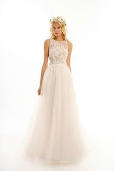 Bateau A-Line Wedding Dress  with Natural Waist in Tulle. Bridal Gown Style Number:33285644