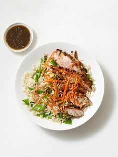 Hoisin Pork With Rice Recipe serve with Asian coleslaw for whole foods