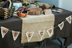 Decor ideas. Burlap runners on each table can be inexpensive and brings a cohesiveness to the over all shower.