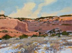 """""""Winter Clear"""" oil, 12x16 in.   30x40 cm.  Painted on location south of Moab, Utah."""