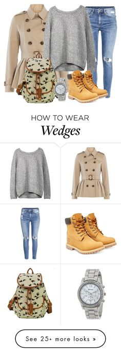 """Winter style"" by myfriendshop on Polyvore featuring H&M, Burberry and Timberland"