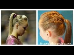 Gymnastics Hairstyles - Nastia Liukin Inspired French Braid Ponytail video tutorial