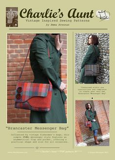 DESCRIPTION:  Please note: If you wish to make a few bags from Charlie's Aunt sewing patterns or books to sell, please read the rules in the additional information section of our policies page.  This is a PDF sewing pattern for The Brancaster Messenger Bag. Influenced by vintage