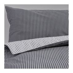 RÖDNARV Quilt cover and 2 pillowcases, stripe, grey stripe/grey 150x200/50x80 cm