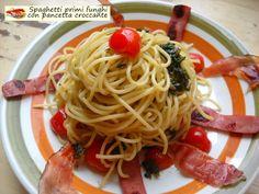 Spaghetti+primi+funghi+con+pancetta+croccante