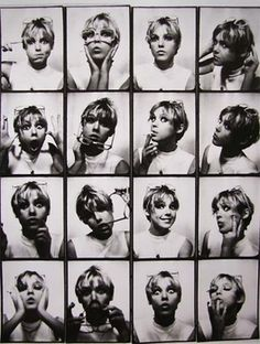 Ben:  Cool B&W photobooth pictures of Edie Sedgwick by Andy Warhol.    We should post a picture of this contact sheet outside the photobooth as inspiration :)