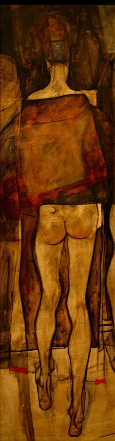 Egon Schiele, Rear view of a Female Half-Nude with Clothe on ArtStack #egon-schiele #art