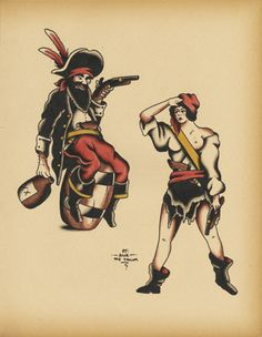 Old school style pirate tatts <3