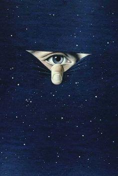 Eye peeking thru night sky