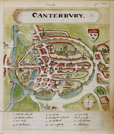 A historic map of Canterbury by Anonymous - British Library Prints